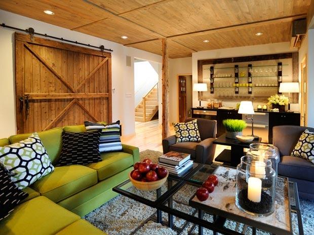 Green Sofa Grey Rug Hidden Lamps White Wall