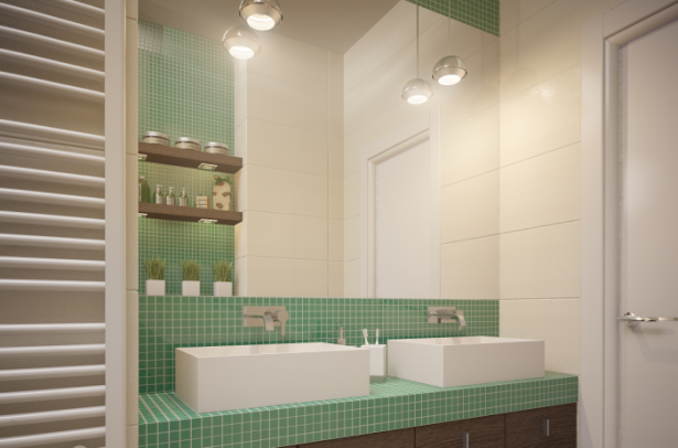 Green Tiles Wide Glass Hanging Lamps White Windows White Sinks