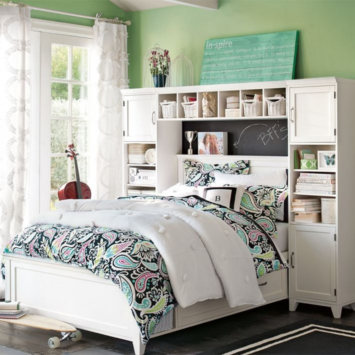 Green Wall White Bed Frame White Window White Cabinet White Curtain