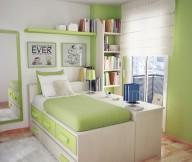 Green Wall White Desk Brown Wooden Floor White Bed Frame White Carpet