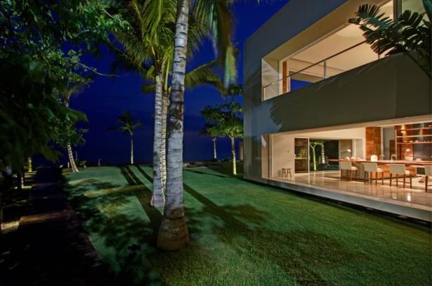 Green courtyard La punta house Glass wall Coconut trees
