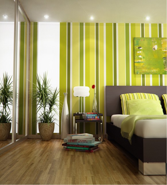 Green stripes wall Green Color Bedrooms wooden floor