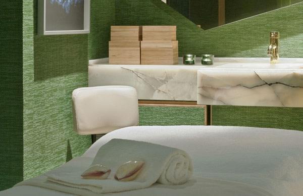 Green waall Artistic and Unconventional Design for bathroom white towel Design Showcased