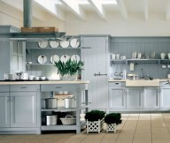 Grey Cabinets Grey Kitchen ISland Cream Floor White Ceiling