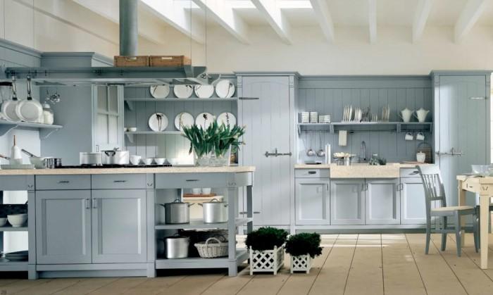 Grey Cabinets Grey Kitchen ISland Cream Floor White Ceiling