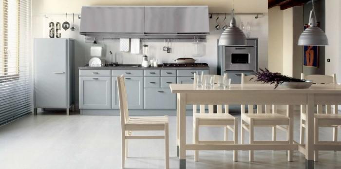 Grey Counters Stainless Steel Kitchen Chimney White Floor Cream Dining Set
