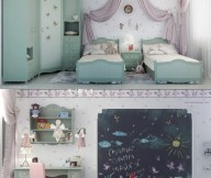 Grey Cupboard White Curtain Pink Chair Grey Bed