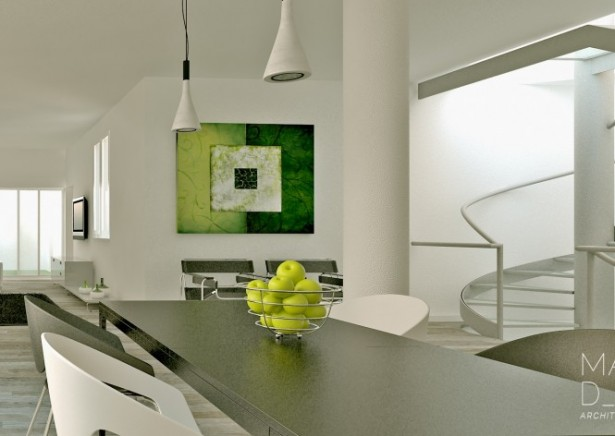Grey Dining Table White Chairs Grey Chairs White Wall Green Painting