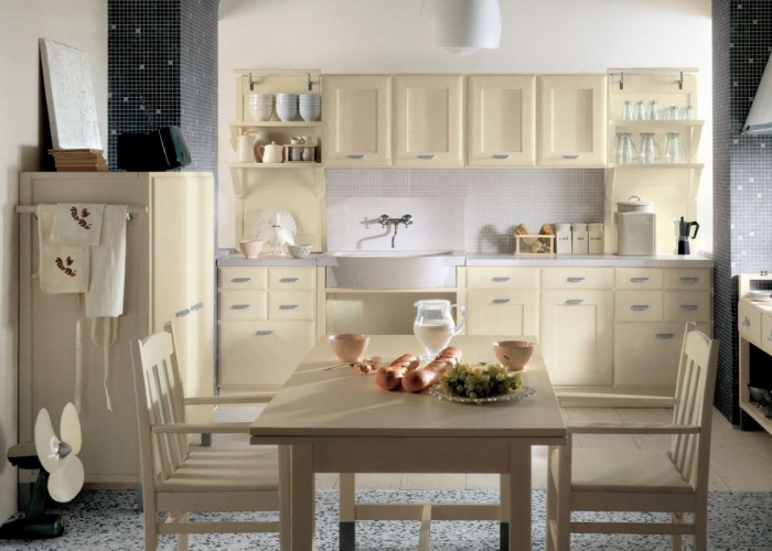 Soft Colors  Grey Floor Cream Cabinets Cream Dining Set White Wall