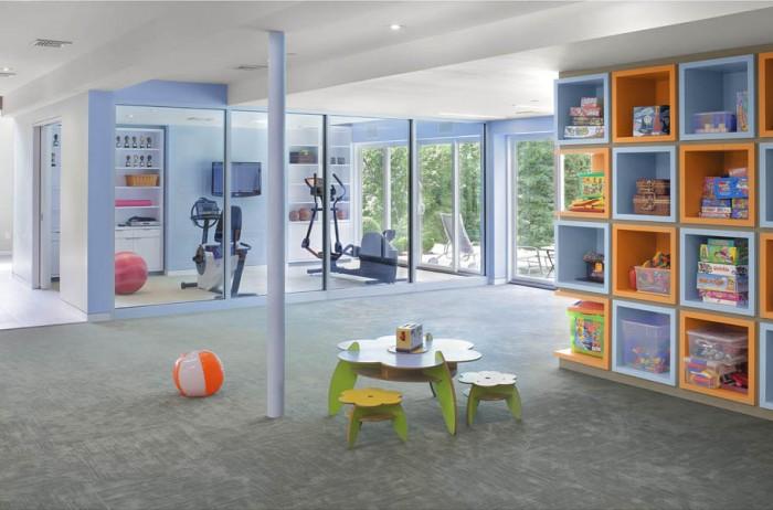 Grey Rug Gym Room Blue Wall Wide Windows
