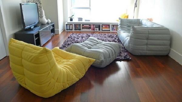 Grey Rug Wooden FLoor White Wall Modern Sofa