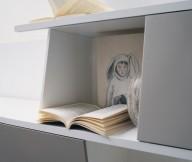 Grey Shelf Open Book White Wall Rabbit Drawing Minimalist Look