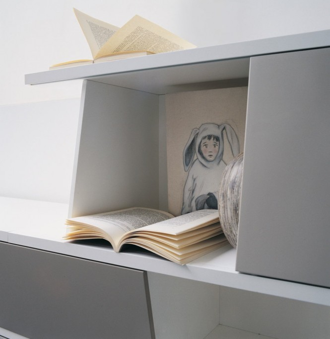 Grey Shelf Open Book White Wall Rabbit Drawing Minimalist Look