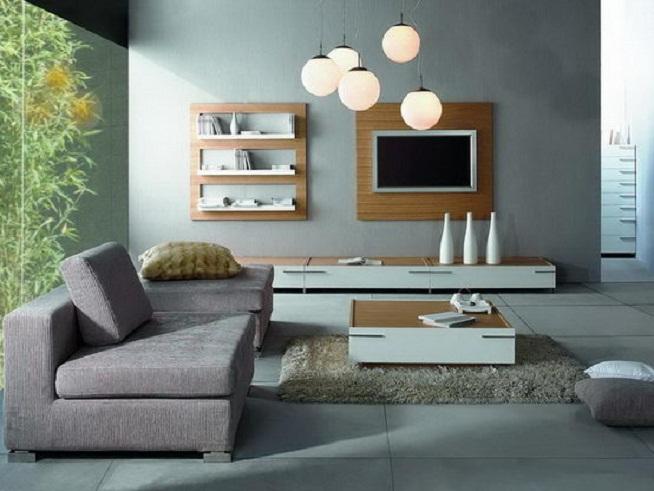 Grey Sofa Cream Rug Grey Wall Bamboo Plants Minimalist Shelves