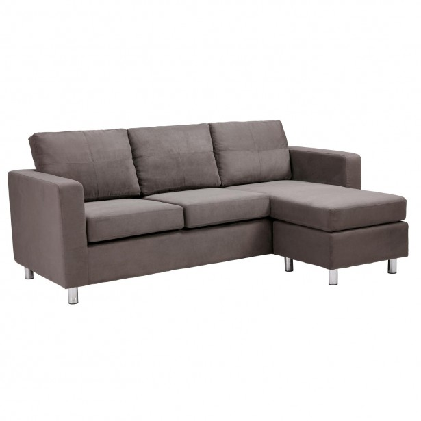 Grey Sofa Minimalist Look Modern Design Metal Legs