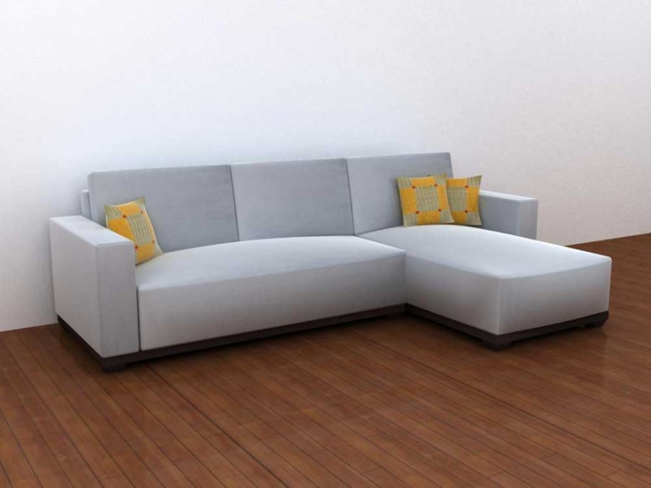 Grey sofa minimalist look modern design yellow hue for Minimalist sofa