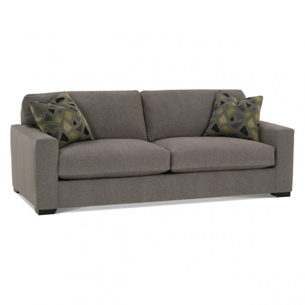 Grey Sofa Minimalist Look Mosaic Motive Cushions Green Hue