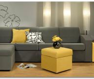 Grey Sofa Minimalist Look Yellow Hue FLowery Motive Cushion