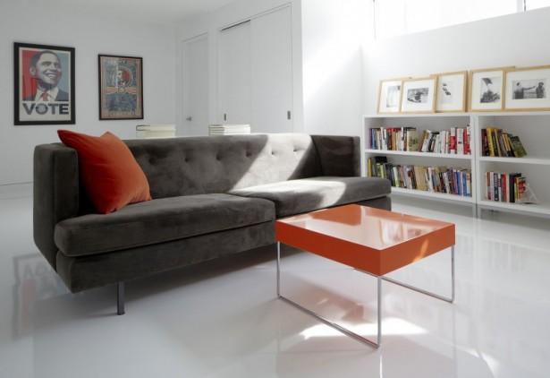 Grey Sofa Orange Cushion Orang Coffee Table Minimalist Shelf