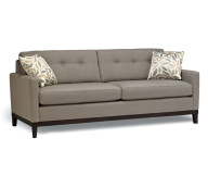 Grey Sofa Typical Motive Cushions Black Legs Minimalist Look