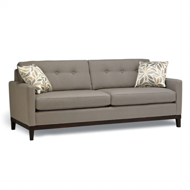 Grey Sofa Typical Motive Cushions Black Legs Minimalist Look
