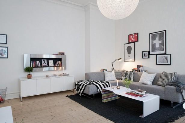 Grey Sofa White Ball Lamp white Cabinets