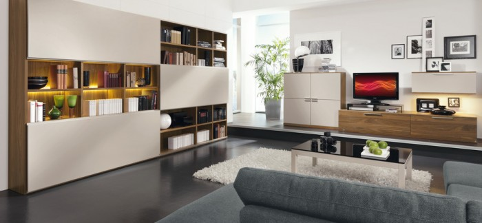 Grey Sofa White Wooden Cabinet Brown Wooden Cabinet White Rug Black Glass Table