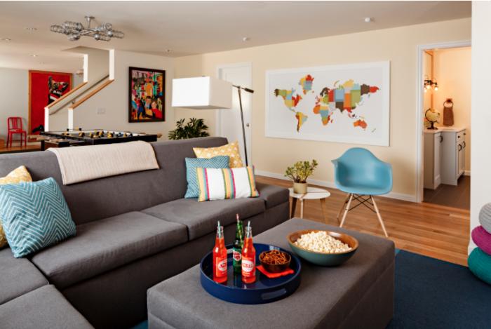Grey Sofa Wooden Floor World Map Blue Rug