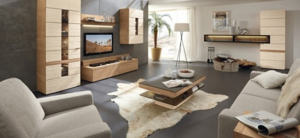 Grey Sofas White Leather Carpet Brown Wooden Cabinets Grey Floor