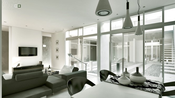 Grey Sofas White Wall White Hanging Lamps White Dining Table Black Chairs