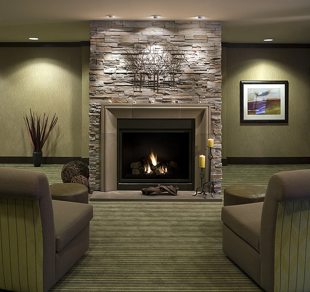 Grey Stone Fireplace Modern Look Stripes SOfa Hidden Lamps