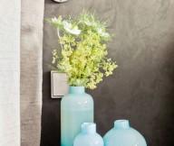 Grey Wall Blue Vase Black Small Table Natural Look