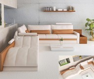 Grey Wall Ivory Color Sofa White Floor Brown Hue