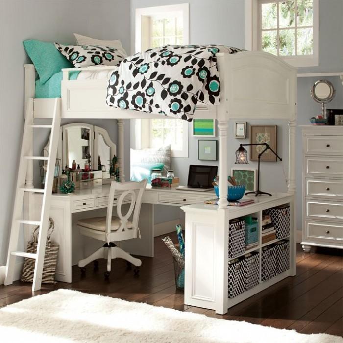 Grey Wall White Bed Frame Brown Wooden Floor White Desk White Chair