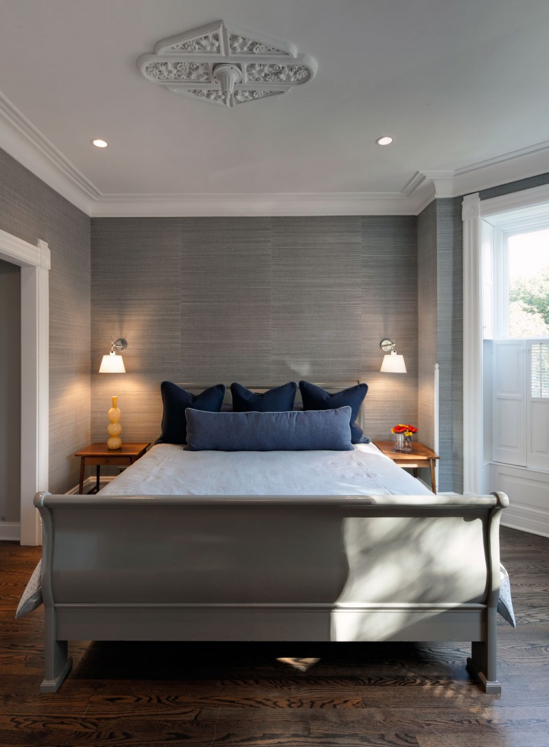 Grey Wall White Ceiling Wooden Floor Blue Cushions