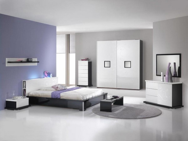 Grey Wall White Floor Purple Wall White Wardrobe