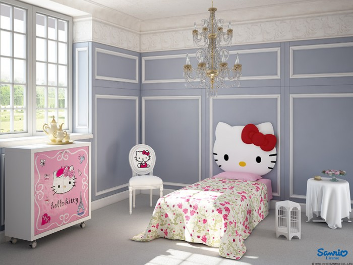 Grey Wall White chair White Desk  Pink Floral Bed