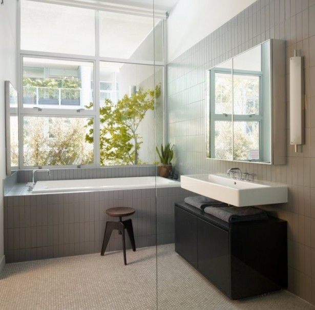 Grey Wall Wide Window Square Sink Wooden Small Chair White Bath Up