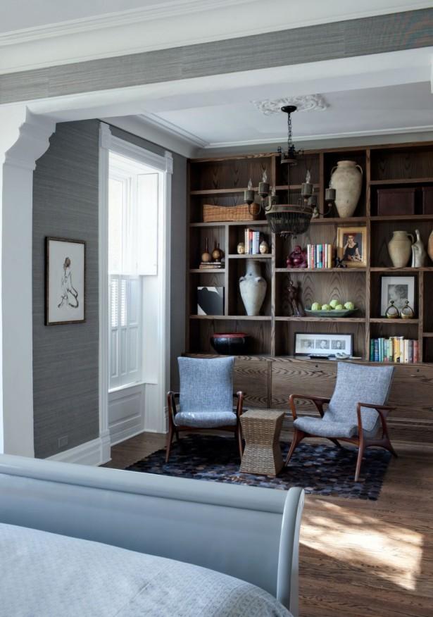 Grey Wall Wooden Floor Wooden Rack Grey Chair
