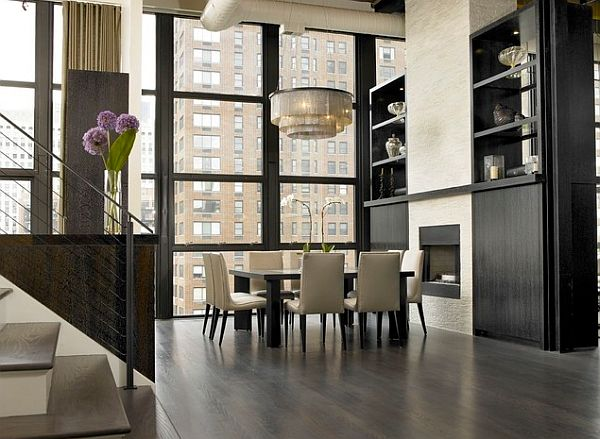 Grey white square-table-in-luxurious-dining-room