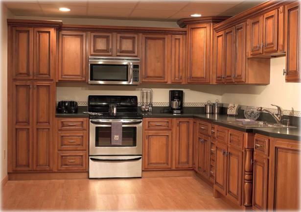 HIdden Lamps Wooden FLoor WOoden Cabinets Modern Stove Modern Microwave