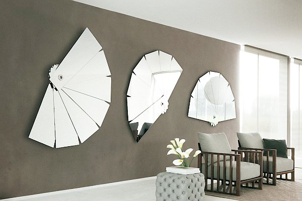 Half Circle Mirror Grey Wall White FLoor White Lily