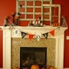 Halloween Theme Red Wall Modern Minimalist Fireplace Orange Pumkins