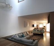Hanging home Wood floor Bright skylight Grey sectional sofa