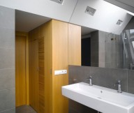 Hidden Lamps Double Sink Grey Floor Wooden Door