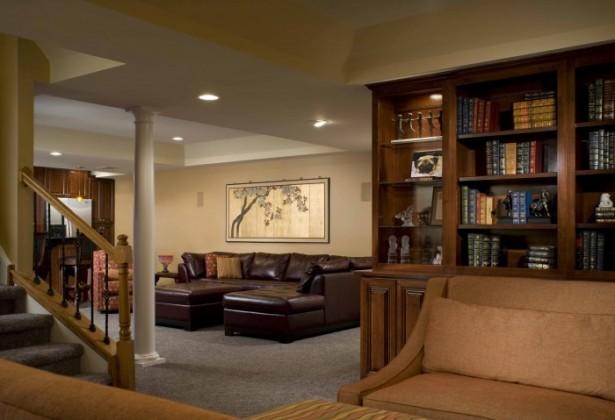 Hidden Lamps Grey Rug Cream Wall Brown Sofa Modern Sense