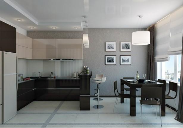 Hidden Lamps Grey Wall Black Dining Set Modern Look