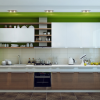 Hidden Lamps Lime Green Hue Wooden Counters White Cabinets