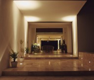 Hidden Lamps Marble Floor White Wall Potted Plants