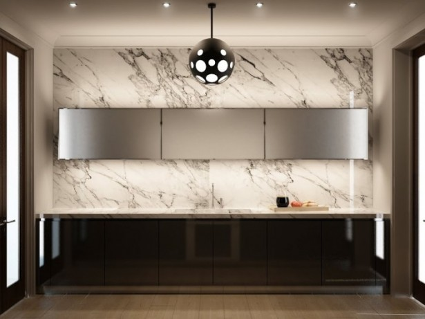 Hidden Lamps White Marble Backsplash Black Counters Modern Chandelier